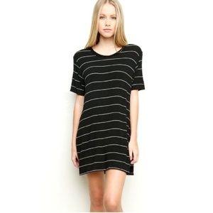 Brandy❤Melville Luana B&W Striped T Shirt Dress